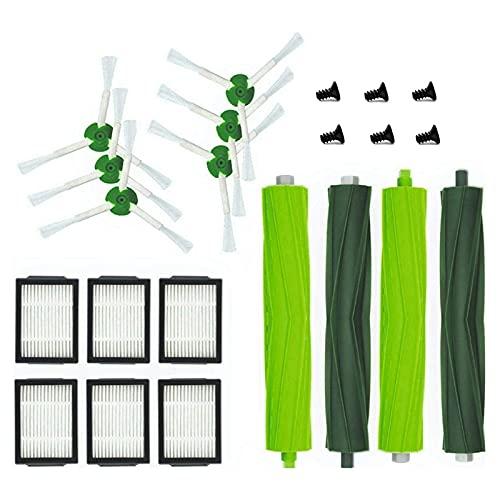 16 piezas de repuesto para aspiradoras IRobot para Roomba I7 I7+ Plus E5 E6 E7 Juego de cepillos de filtro laterales, kit de piezas de repuesto para aspiradora (color: verde)