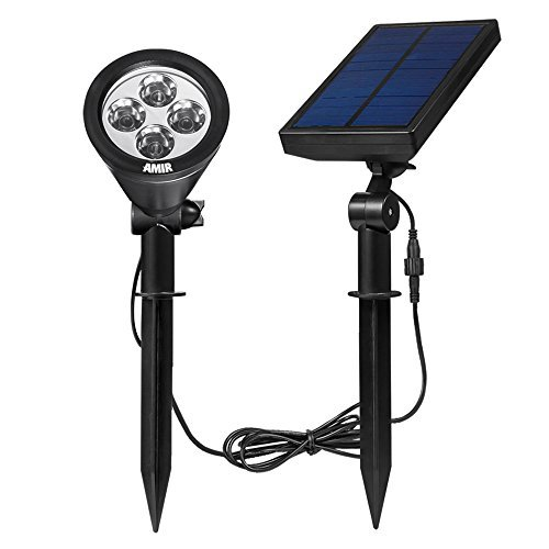 AMIR Solar Spotlight Outdoor Garden Wall Lights, Waterproof, 180