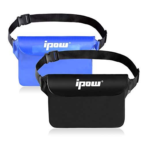 IPOW 2PCS Housse Étanche à Ceinture Certifiée IPX8 Sangle Ajustable 3 Zipper Plastique Pochette à Ceinture/Etui Imperméable/Sac pour Nautique,Pêche,Kayak,Baignade,Protection Téléphone/Argents/Cartes
