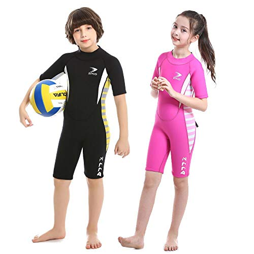 2.5mm Kids Shorty Wetsuit, Boys and Girls Full Body Thermal Neoprene Swimsuit, Back Zip Wet Suit for Scuba Diving, Swimming, Surfing