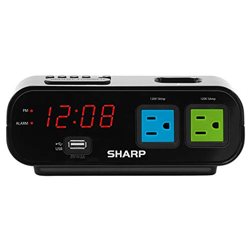 Sharp Digital Alarm Clock with 2X Power Outlets with Surge Protect and Rapid Charge USB Port (Blue/Green)
