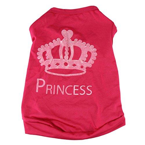 Haustierkleidung,Haustier Hund Katze Niedliche Prinzessin T-Shirt Kleidung Weste Mantel Kostüm von Sannysis (Rosa rot, S)