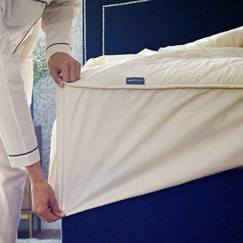 Woolroom Protector de colchón Doble de Lana Natural, orgánica, Lavable, Doble (135 x 190 cm)