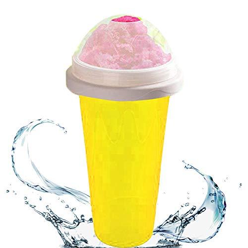 Magic Slushy Maker Squeeze Cup, Copa doble capa bebidas heladas caseras bricolaje Máquina para hacer helados granizados batidos congelados rápidamente para regalo niños (amarillo)