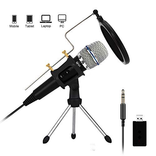 Condensatormicrofoon voor PC met standaard voor telefoon pc-microfoon iPhone 3,5 mm USB microfoon karaoke microfoon