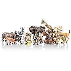powerful TOYMANY 12PCS Realistic jungle animal figure, 2-6 Safarian Animal Figure Set …