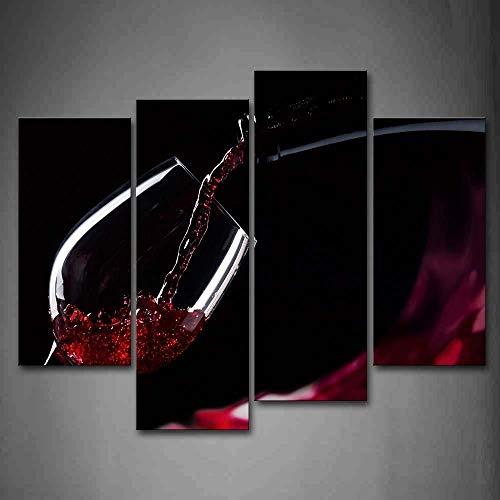 ZDFDC Moderne Wandkunst Leinwand Gemälde 4 Stück Rotwein Im Glas Bild für Esszimmer Küche Room Decor-40x80x2_40x100cmx2_kein Rahmen