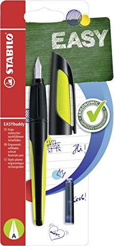 Schulfüller mit Anfänger-Feder A - STABILO EASYbuddy in schwarz/limette - Schreibfarbe blau (löschbar) - Einzelstift - inklusive Patrone