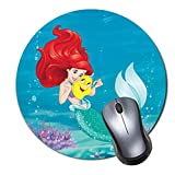 Computer Gaming Mouse Pad Non-Slip Rubber Material Round Mat for Office and Home Laptop Desktop Mousepad (8 Inch) - Ariel Mermaid Disney Princess