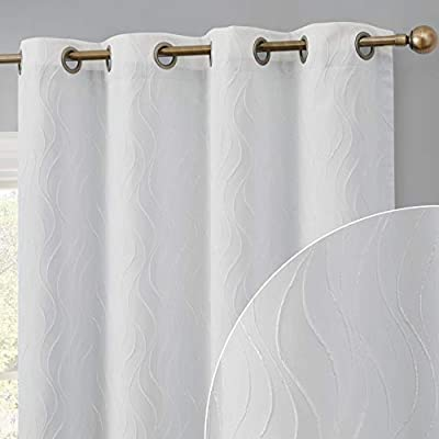 """HLC.ME Camden 100% Complete Full Blackout Thermal Insulated Window Curtain Grommet Panel for Sliding Glass Patio Doors - Energy Efficient, Complete Darkness, Noise Reducing - (100"""" W x 84"""" L, White)"""