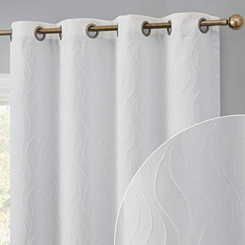 HLC.ME Camden Pattern 100% Complete Full Blackout 2 Layer Winter Heat Cold Thermal Insulated Energy Saving Floor Length Window Curtain Drapery Grommet Panels for Bedroom, Set of 2 (50 W x 84 L, White)