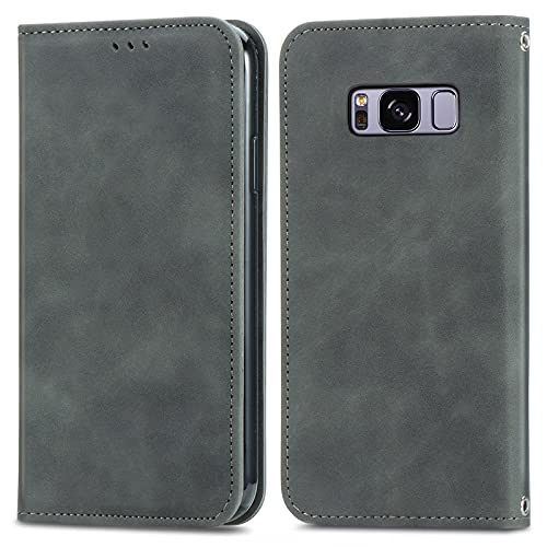 ZHANGHUI Funda protectora con tapa para Samsung Galaxy S8, cierre magnético, funda de piel con ranuras para tarjetas, cubierta de protección (color gris)
