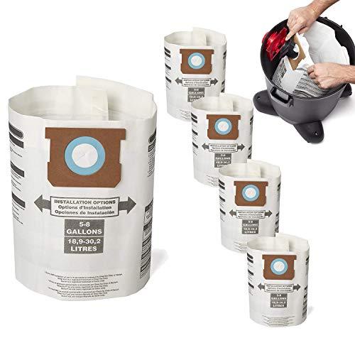 Cehim Vacuum Bags 5 PCS Replacement for Shop vac Type E - 9066100 90661 906-61, 5-8 Gallon Disposable Collection Filter Bags