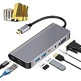 USB C Hub, 7 in 1 USB C Adapter mit 4K HDMI Port/2 USB 3.0-Anschlüsse/RJ45 VGA/PD-Anschluss/Audio,...