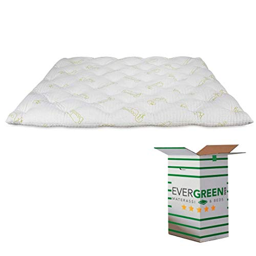 EVERGREENWEB  Mattress Topper, 7 cm Height in Memory Foam Flakes, Mattress Cover Padding 100% Soft Feather Effect, White Anti-Mite Hypoallergenic Lining (135 x 190 cm, Topper Bamboo)
