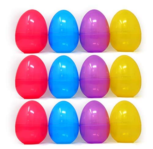 4E's Novelty Jumbo Plastic Easter Eggs 6' [Bulk Pack of 12] Fillable Plastic Egg Hunt Unhinged, Easter Party Favor Supplies, 4 Colors