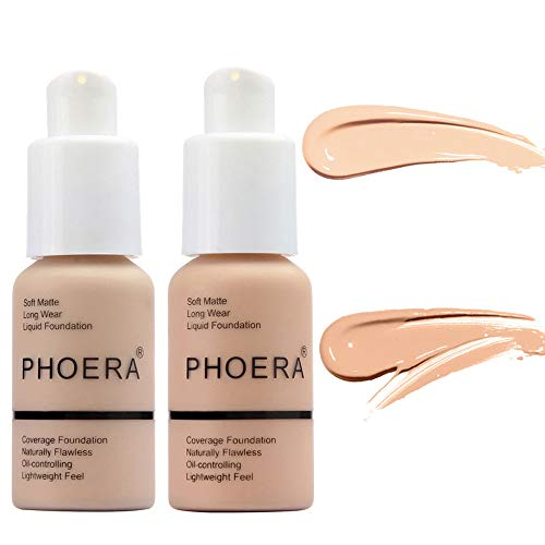 2 Pcs PHOERA Soft Matte Full Coverage Liquid Foundation Brighten Highlighting Matte Oil Control Concealer Facial Blemish Concealer Color Changing Foundation for Women Girls, 102 Nude & 103 Warm Peach