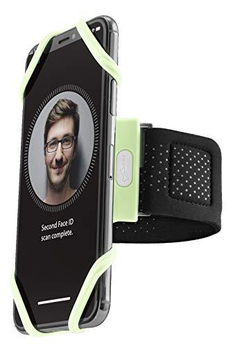 Bone Sportarmband für Handy, Federleichtes Handy Armband zum Joggen Handytasche Laufen, Handyhalter Arm - Luminous (XL) (leuchtet im Dunkeln)