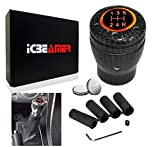 ICBEAMER Carbon Fiber Stick Shift Knob JDM Racing Style Stick Manual Transmission Replacement Shift Knob w/Red LED Light Battery Included