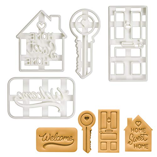 Set of 4 Housewarming cookie cutters (Home Sweet Home, House Door, House Key, and Welcome Mat), 4 pieces - Bakerlogy