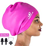 Dsane Extra Large Swimming Cap for Women and Men,Special Design Swim Cap for Very Long Thick Curly Hair&Dreadlocks Weaves Braids Afros Silicone Keep Your Hair Dry
