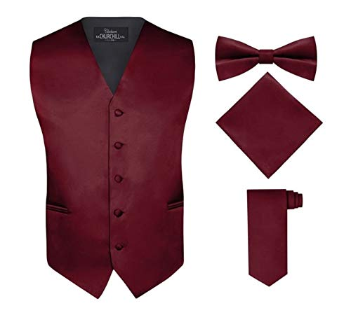 Barry.Wang Burgundy Tie and Pocket Square Set for Men Paisley Necktie Cufflinks Set
