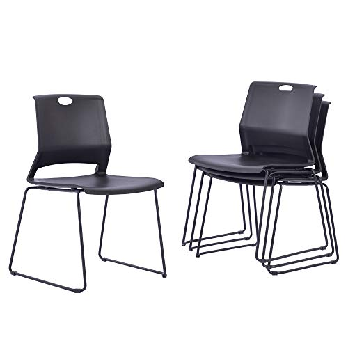 Sidanli Stacking Chairs Stackable Waiting Room Chairs Conference Room Chairs-Black (Set of 4)