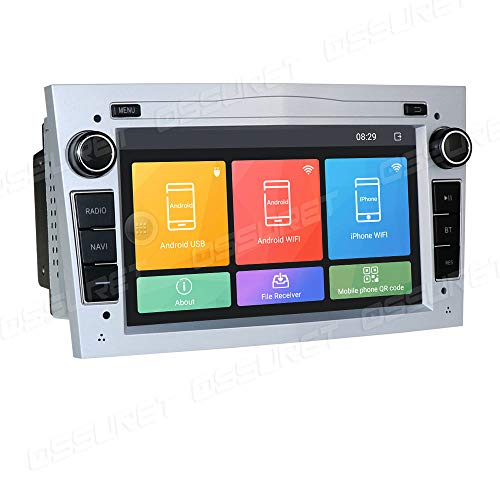 Android 10 Auto GPS Navigation Fit für OPEL Meriva/Signum/Zafira/Vectra C/Vivaro Unterstützung Lenkradsteuerung Bluetooth Mirror-Link FM Radio (Silber)