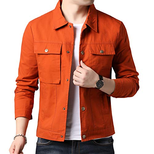 Womleys Mens Casual Windbreaker Cotton Lightweight Jackets Trucker Jacket (Medium, Orange)