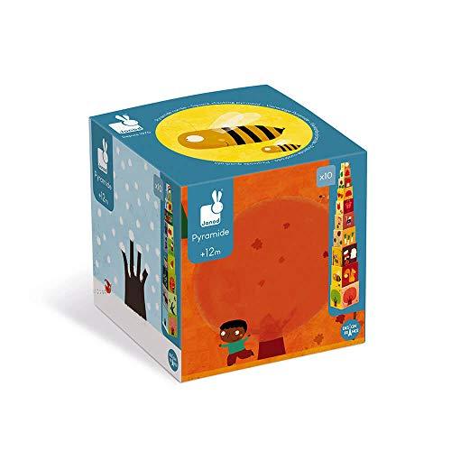 Janod - J02917 - Pirámide cuadrada de las 4 estaciones con bloques apilables, juguete de manipulación para niños a partir de 1 año