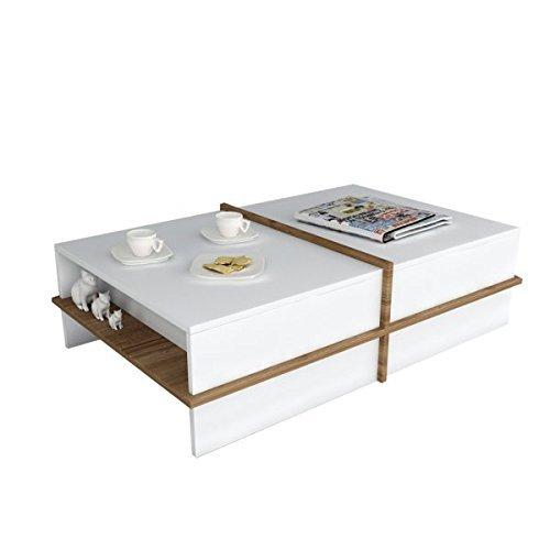 Alphamoebel Side Tables, Engineered Wood, White Walnut, 90 x 60 x 35 cm