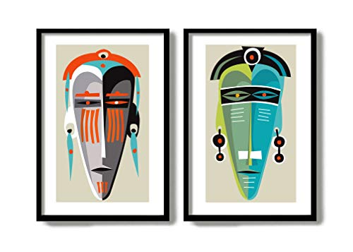 Tribal Mask Mid Century Modern Art Print Wall Art Grouping Abstract Print Set Living Room Decor Set African Art Print Tiki Mask Set of 2