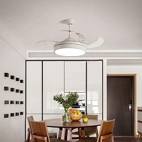 Ventilador de techo invisible moderno con luz LED de 36 W con iluminación para sala de estar,lámpara de techo,atenuación de luz con control remoto,3 velocidades,4 aspas de ventilador retráctiles