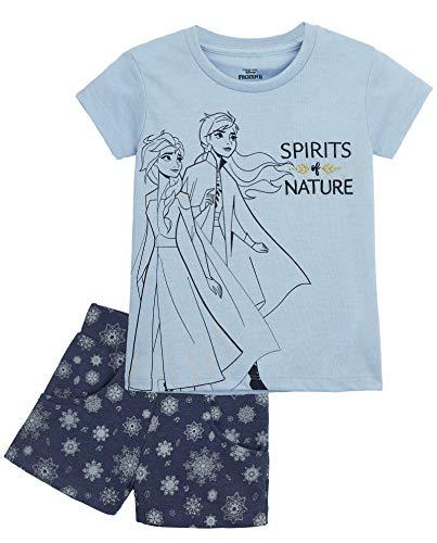 Disney Die Eiskönigin Schlafanzug Mädchen, Kurz Frozen Pyjama Kinder mit Anna und ELSA, Zweiteiliger Baumwolle Sommer Schlafanzug, Kinder Nachtwäsche Set, Geschenke für Kinder (Blau Frozen, 6 Jahre)