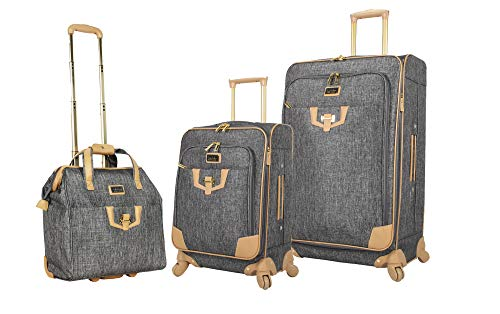 Nicole Miller 3 Piece Softside Luggage - Expandable Lightweight Suitcase Set Includes 15 Inch Under Seat Bag, 20 Inch Carry On & 28 Inch Checked Suitcase with Spinner Wheels (One Size, Paige Silver)