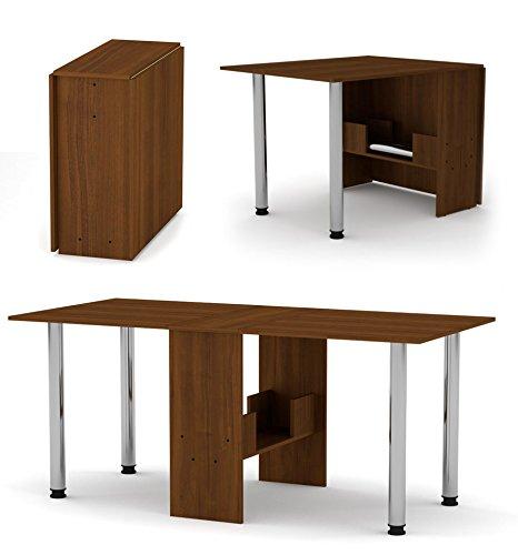 Rodnik Klappbarer Tisch- Esstisch ausklappbar - Klapptisch - Funktionstisch - Bürotisch - Nussbaum-Holzoptik-mit Metallbeinen