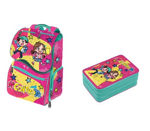 Schoolpack - Mochila Me Contro Te Rosa-Amarillo con Luces + Estuche Triple Completo nueva colección 2021