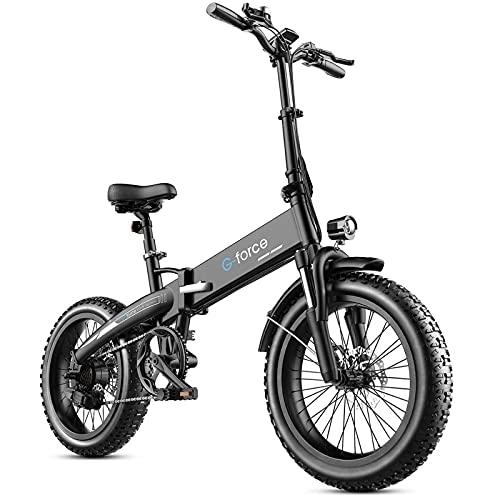 "Folding Electric Bike for Adults 48V 500W 20"" 4.0 Fat Tire E Bike 28Mph Shimano 7 Speed Beach Mountain Bike LCD Display 10.4Ah Lithium Battery"