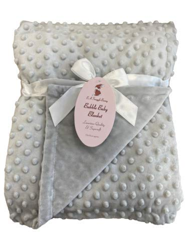 Newborn Soft Bubble Baby Blanket with Fleece Back for Crib Pram Boys Girls Infant Cot Bed Swaddle Pram Shawl Wrap Toddler Snuggle E&A Distribution Limited (Grey)