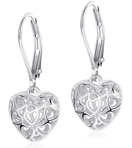 Milacolato Heart Earrings S925 Sterling Silver Hollow Shaped Leverback Earrings for Women Girls Dangle Drop Earrings