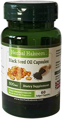 Black Seed Oil Capsules 500mg x 60 capsules (Made in the UK) - Cold Pressed, Nigella Sativa