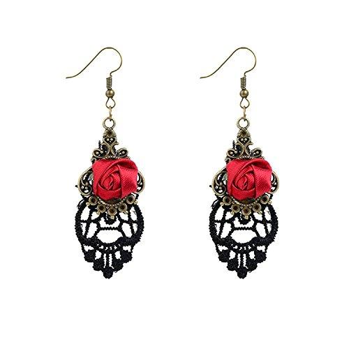 YAZILIND Retro Style Lace Baumeln Rote Rose Blume Ohrring Halskette Stilvolle Schmuck Für Frauen Geschenkidee (Ohrring)