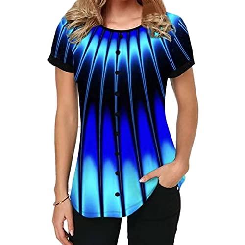 Elesoon Camiseta de verano para mujer, talla grande, bohemio, étnico, tribal, estampado de cachemira, manga corta, suelta, con cuello en O, B-Striped Blue, 46