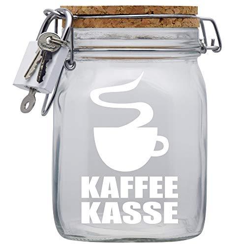 Kaffee-Kasse Spardose mit Vorhängeschloss in Weiss/Geld-Geschenk Idee XXL Sparbüchse Glas Geldgeschenk mit Korkdeckel und Sparschlitz Middle Transparent