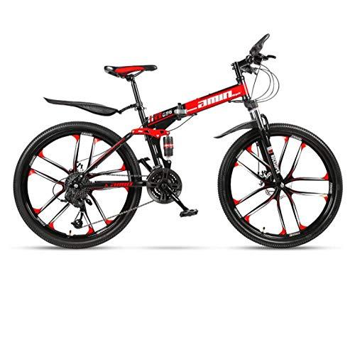 DGAGD Bicicleta de montaña Plegable de 24 Pulgadas para Adultos, una Rueda, Doble Amortiguador, Todoterreno, Bicicleta de Velocidad Variable, Diez Ruedas de Corte-Rojo Negro_24 velocidades
