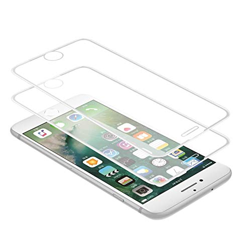 WEOFUN 2 Pezzi 3D Vetro Temperato per iPhone 6 Plus, iPhone 6S Plus, iPhone 7 Plus,iPhone 8 Plus Pellicola Protettiva [Durezza 9H,Anti-Scratch,Anti-Impronte, Facile da Pulire]-Bianco
