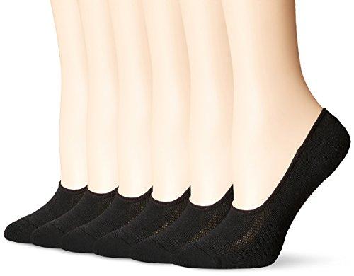 PEDS Women's Zoned Cushion Mid Cut No Show Socks, Black (6 Pairs), Shoe Size: 5-10