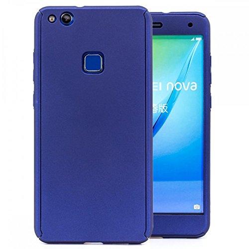 COOVY® Funda para Huawei P10 Lite/Nova Lite 360 Grados, Carcasa Ultrafina y Ligera, con Protector de Pantalla, protección de Cuerpo Completo | Color Azul