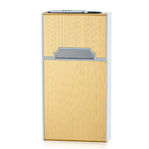 ENWAN ライター付きタバコケース 20本収納 電熱式 無火 防風 メンズ レディース 充電可能 シガレットケース おしゃれ (スリムロングサイズ(MEVIUS Superslim 100等対応), ゴールド)