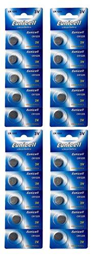 Eunicell Batterie a bottone CR1225, al litio, 3 V, 48 mAh, 20 pezzi (4 blister da 5 batterie)